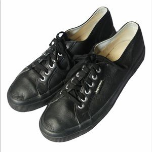 Superga leather low top sneakers black rubber sole